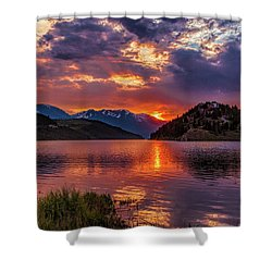 Fire On The Water Reflections Shower Curtain