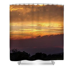 Fire Sky At Sunset Shower Curtain