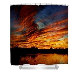 Fire Sky Shower Curtain by Saija  Lehtonen