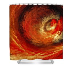 Shower Curtain featuring the digital art Fire Storm Abstract by Andee Design