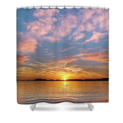 Fire Sunset On Humboldt Bay Shower Curtain