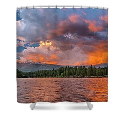 Fire Sunset Over Shasta Shower Curtain