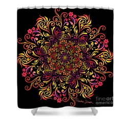 Fire Swirl Flower Shower Curtain
