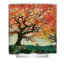 Fire Tree Shower Curtain