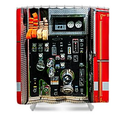 Fire Truck Control Panel Shower Curtain by Dave Mills