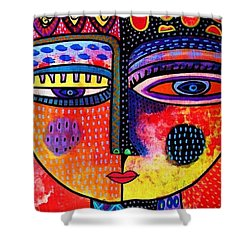 Fire Volcano Goddess Shower Curtain by Sandra Silberzweig