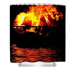 Fire Water Illuminates The Night Shower Curtain
