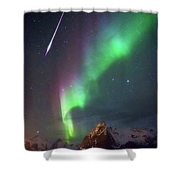 Fireball In The Aurora Shower Curtain