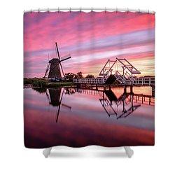 Fired Sky Kinderdijk Shower Curtain