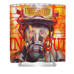Shower Curtain featuring the painting Firefighter by Steve Henderson