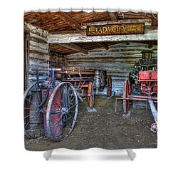 Firefighting Engine Company No. 1 - Nevada City Montana Ghost Town Shower Curtain by Daniel Hagerman