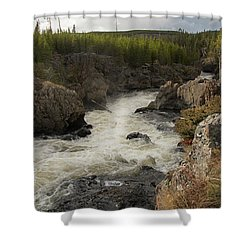 Firehole River Cascade Shower Curtain by Cindy Murphy - NightVisions