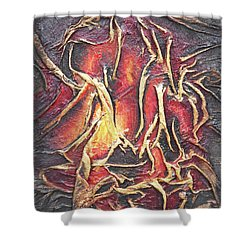 Shower Curtain featuring the mixed media Firelight by Angela Stout