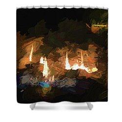 Firelogs Impasto Shower Curtain by Aliceann Carlton