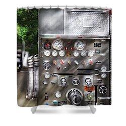 Fireman - Fireman's Controls Shower Curtain by Mike Savad