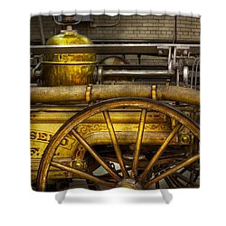 Fireman - Piano Engine - 1855  Shower Curtain by Mike Savad