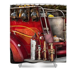 Fireman - Ready For A Fire Shower Curtain by Mike Savad