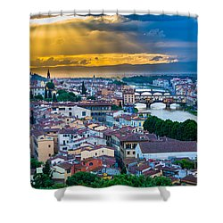 Firenze Sunset Shower Curtain by Inge Johnsson