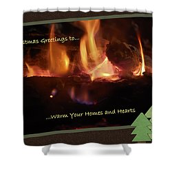 Fireside Christmas Greeting Shower Curtain by DigiArt Diaries by Vicky B Fuller
