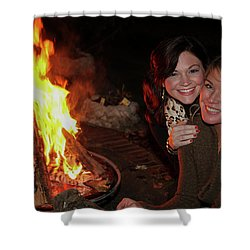 Shower Curtain featuring the photograph Fireside Sisterly Love Night Photography Art by Reid Callaway