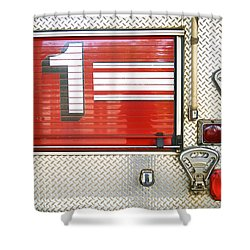 Firetruck Detail I Shower Curtain by Kicka Witte - Printscapes