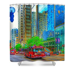 Shower Curtain featuring the photograph Firetruck In Chicago by Marianne Dow