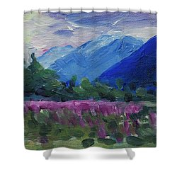 Shower Curtain featuring the painting Fireweed At Outer Point Alaska by Yulia Kazansky