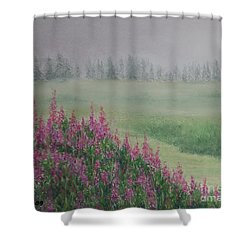 Shower Curtain featuring the painting Fireweeds Still In The Mist by Stanza Widen