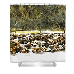 Shower Curtain featuring the photograph  Floyd Snyder by Firewood in the Snow at Fort Tejon