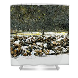 Shower Curtain featuring the photograph Firewood In The Snow At Fort Tejon by Floyd Snyder