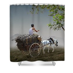 Shower Curtain featuring the mixed media Firewood Sale by Marvin Blaine