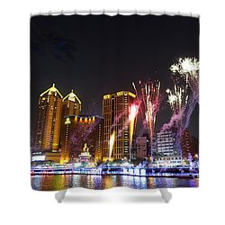 Shower Curtain featuring the photograph Fireworks Along The Love River In Taiwan by Yali Shi