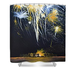 Fireworks Bonfire On The West Bar Shower Curtain by Charles Harden