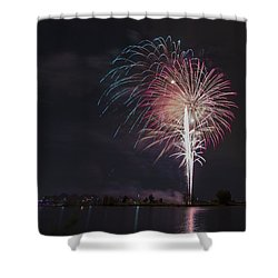 Fireworks Display On The Lake Shower Curtain
