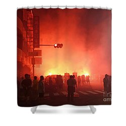 Fireworks During A Temple Procession Shower Curtain by Yali Shi