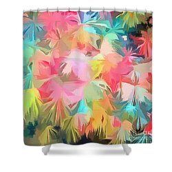 Fireworks Floral Abstract Square Shower Curtain by Edward Fielding