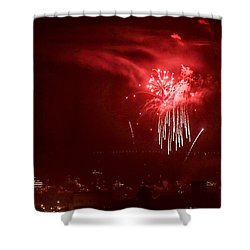 Fireworks In Red And White Shower Curtain