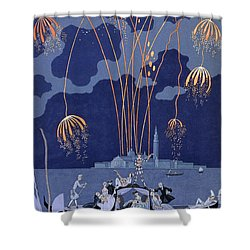Fireworks In Venice Shower Curtain by Georges Barbier