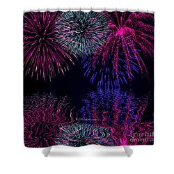Shower Curtain featuring the photograph Fireworks Over Open Water 1 by Naomi Burgess