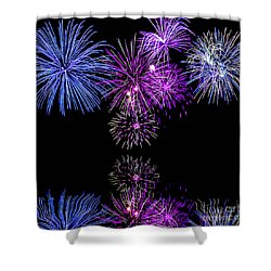 Shower Curtain featuring the photograph Fireworks Over Open Water 2 by Naomi Burgess
