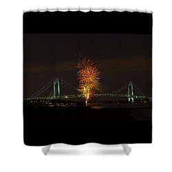 Fireworks Over The Verrazano Narrows Bridge Shower Curtain by Kenneth Cole