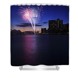 Fireworks Over Waikiki Shower Curtain by Brandon Tabiolo - Printscapes