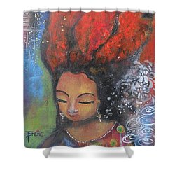 Shower Curtain featuring the painting Firey Hair Girl by Prerna Poojara