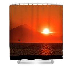 Firey Sunset On Mt Redoubt Volcano Alaska Shower Curtain