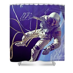 First American Walking In Space, Edward Shower Curtain