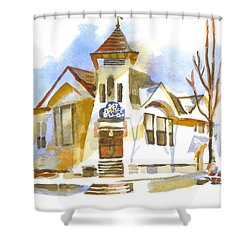 Shower Curtain featuring the painting First Baptist Church In Winter by Kip DeVore