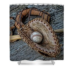 First Base Shower Curtain by Pat Cook