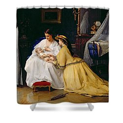 First Born Shower Curtain by Gustave Leonard de Jonghe
