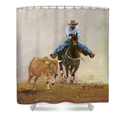 First Bulldogger Bill Picket Oil Painting By Kmcelwaine  Shower Curtain