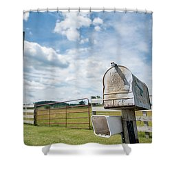 First Class Delivery Shower Curtain